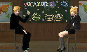 .:Sims 2-Rin and Len:. +School Time+ by youkou-chan