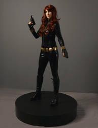 Black Widow action figure shooting cosplay by ShryeCosplay