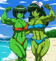 Nabiki and Ukyo Hulks Commission by Nescaro