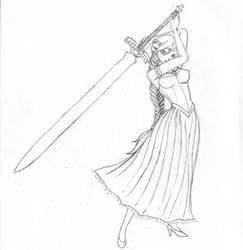 Kayla, Half-Elf Paladin by MoCaW