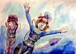 Annie and Nova go for a dive. by JSenpaiDaNinja