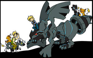 Zekrom, Shimama and some guys by denkimouse