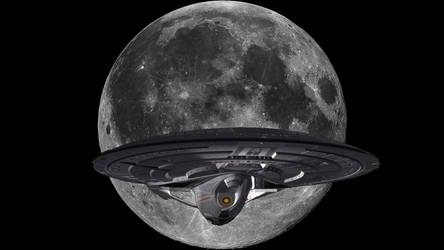 Enterprise E and the Moon by RngrThorne