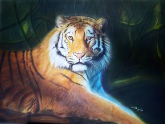 Airbrush tiger 50x70 by dodosun