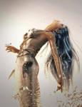 Silver Mermaid Fantasy Art by shibashake