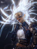 Sci-Fi Girl with Light Emitting Hair by shibashake