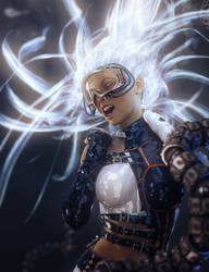 Sci-Fi Girl with Light Emitting Hair by shibashake