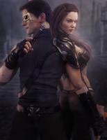 Post Apocalyptic Man and Woman with Guns Art by shibashake