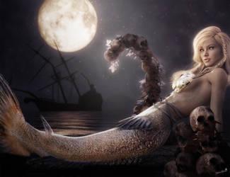 A Mermaid's Moon, Fantasy Art by shibashake