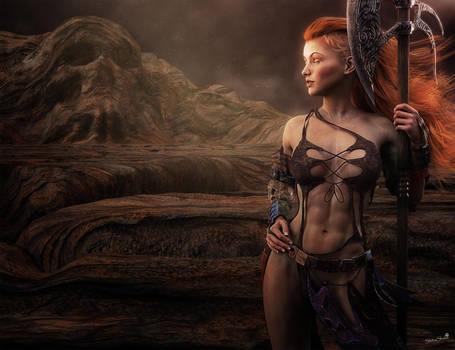 Fantasy Redhead Warrior Woman, 3D-Art by shibashake