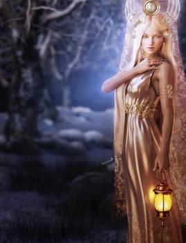Winter Lady of Light, Fantasy 3D-Art by shibashake