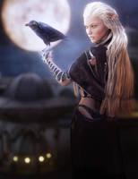 White Haired Elf Girl with Raven, Fantasy Art by shibashake
