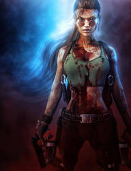 Bad-Ass Lara Croft, Tomb Raider Game Fan-Art by shibashake