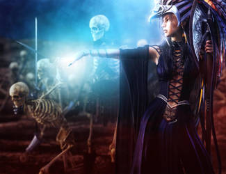 Skeleton Army and Necromancer Woman Fantasy Art by shibashake