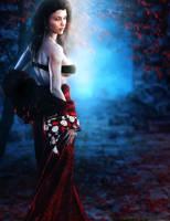 Asian Girl in Red Kimono, Fantasy Art by shibashake