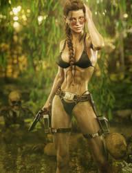 Lara Croft in a Bikini, Tomb-Raider Game Fan-Art by shibashake