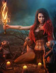 Sexy Fantasy Woman with a Magic Sword, Fantasy Art by shibashake