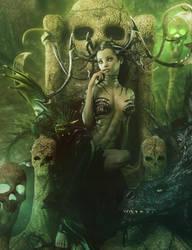 Skull Queen + Dragons, Fantasy Woman Art by shibashake