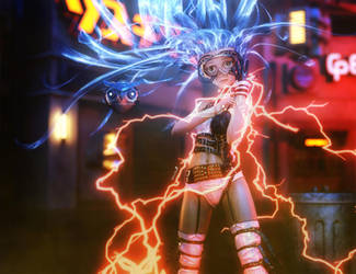 Cute Anime Sci-Fi Girl, Daz Studio Iray Art by shibashake