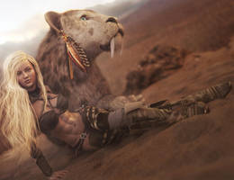 Cute Blonde Girl + Saber-tooth Tiger, Fantasy Art by shibashake