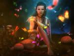 Dark Haired Elf Woman + Butterflies, Fantasy Art by shibashake