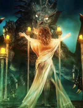 The Summoning, Dragon Priestess Fantasy Art by shibashake