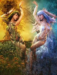 Summer and Winter, Seasons Fantasy Women Art by shibashake