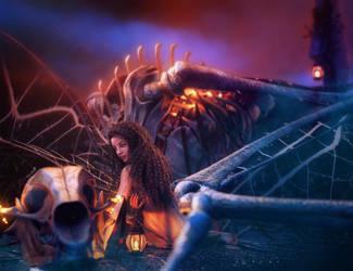 Girl and Bone Dragon, Fantasy Art, Daz Studio Iray by shibashake