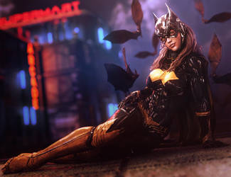 Bat Girl Pin-Up, DC Comics Fantasy Fan-Art by shibashake