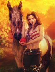A Girl and Her Horse, Fantasy Art, Daz Studio Iray by shibashake