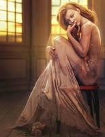 Alone, Blonde Fantasy Woman Art, Daz Studio Iray by shibashake