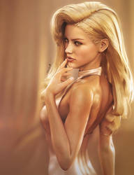 Sexy Blonde Pin-Up, Fantasy Woman Art, DS Iray by shibashake