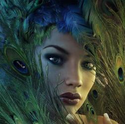 Eyes of Argus, Fantasy Woman Portrait Art by shibashake