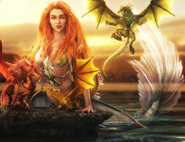 Of Dragons and Mermaids, Fantasy Woman 3D-Art by shibashake