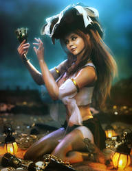 Cute Pirate Girl and Treasure, Fantasy Woman Art by shibashake