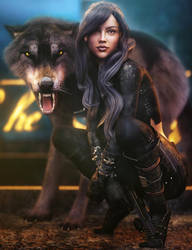 Assassin Girl, Sci-Fi Fantasy Woman Art, DS Iray by shibashake