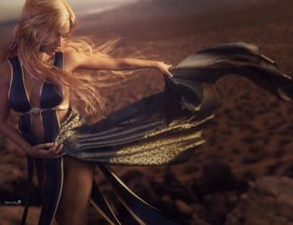 Desert Dance, Blonde Fantasy Woman Art, DS Iray by shibashake