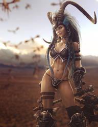 Desert Barbarian Girl, Fantasy Woman Art, DS Iray by shibashake