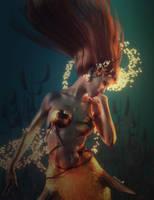 Mermaid Magic, Red-Haired Woman Fantasy Art, Iray by shibashake