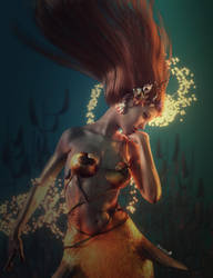 Mermaid Magic, Red-Haired Woman Fantasy Art, Iray by shibashake