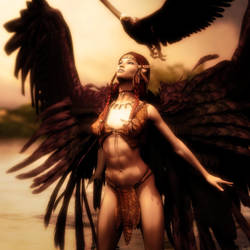 Born Free, Winged Native American Girl Fantasy Art by shibashake