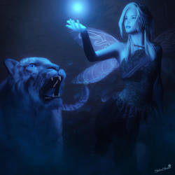 Blue Light, Fantasy Fairy Woman Tiger Art by shibashake