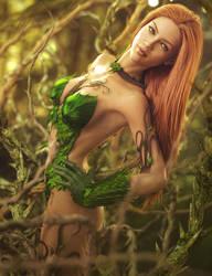 Poison Ivy DC Fan-Art, Red Head Fantasy Woman by shibashake