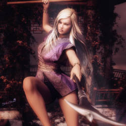 A Warrior's Dance, Blonde Fantasy Woman 3D-Art by shibashake