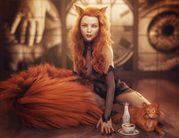 Red Head Cat Girl Pin-Up, Fantasy Woman Art, Iray by shibashake