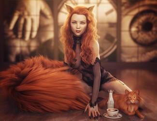 Red Head Cat Girl Pin-Up, Fantasy Woman Art, Iray by shibashake