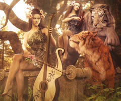 One Sweet Song, Fantasy Women and Tigers 3D-Art by shibashake