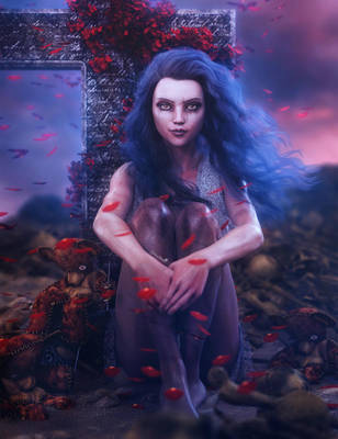 Petals in the Wind, Zombie Girl Fantasy Art by shibashake