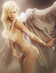 Morning Angel, Fantasy Blonde Woman Art, DS Iray by shibashake