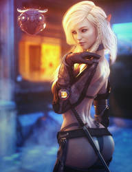 Sci-Fi Elf Girl, Fantasy Blonde Woman Art, Iray by shibashake